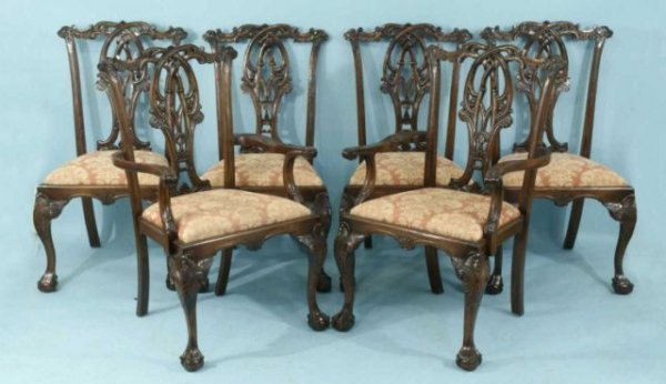 102: CHIPPENDALE STYLE CARVED BAMBOO MOTIF CHAIRS