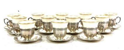 SET 12 STERLING CUP HOLDERS AND LENOX TEACUPS