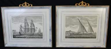 PAIR OF FRAMED & MATTED SHIP ENGRAVINGS