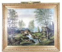 """ALFRED ANDERSON """"THE OLD WATERMILL"""" OIL PAINTING"""