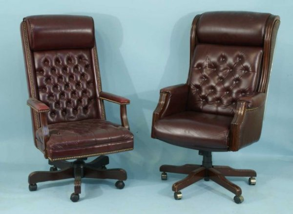 6: TWO MAROON BUTTON-TUFTED HIGH BACK ARMCHAIRS