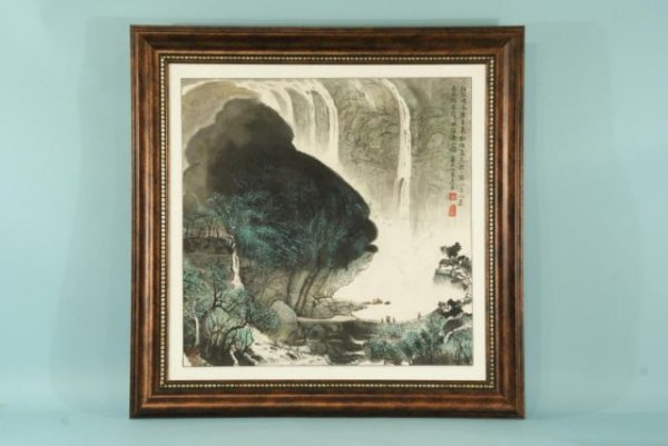 7: FRAMED AND MATTED CHINESE WATERCOLOR MOUNTAINSCAPE