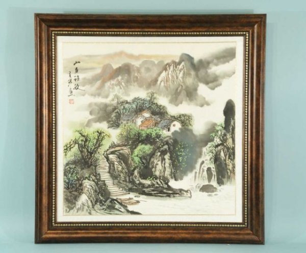 8: FRAMED AND MATTED CHINESE WATERCOLOR VILLAGE SCENE