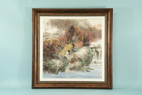 9: FRAMED AND MATTED CHINESE WATERCOLOR RIVERSCENE