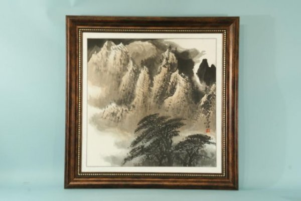 10: FRAMED AND MATTED CHINESE WATERCOLOR MOUNTIANSCAPE