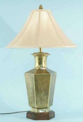 12: POLISHED BRASS LAMP WITH SHADE