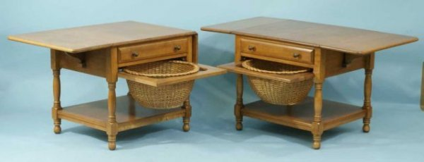 15: PAIR OF MAPLE END TABLES BY CONANT BALL