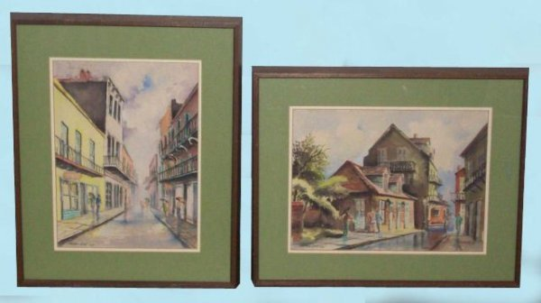 16: PAIR OF FRAMED AND MATTED WATERCOLORS