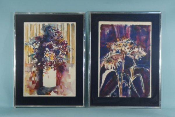 17: FRAMED PAIR OF FLORAL STILL LIFE WATERCOLORS