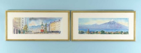 """21: PAIR WATERCOLOR OF """"CITYSCAPE"""" & """"MOUNTAINSCAPE"""""""