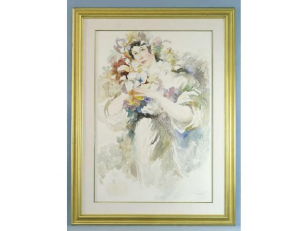 24: FRAMED AND MATTED WATERCOLOR STILL LIFE WOMAN