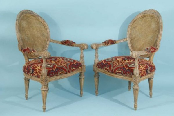 78: COUNTRY FRENCH STYLE ARMCHAIRS WITH CANE BACKS