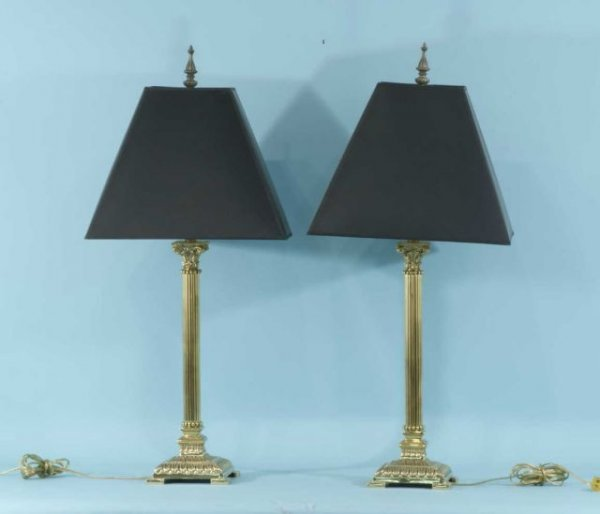1: PAIR OF BRASS CANDLESTICK LAMPS