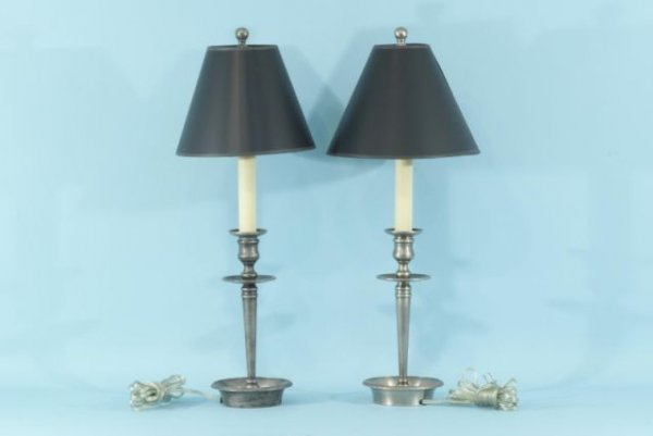 3: PAIR OF BRASS CANDLESTICK LAMPS