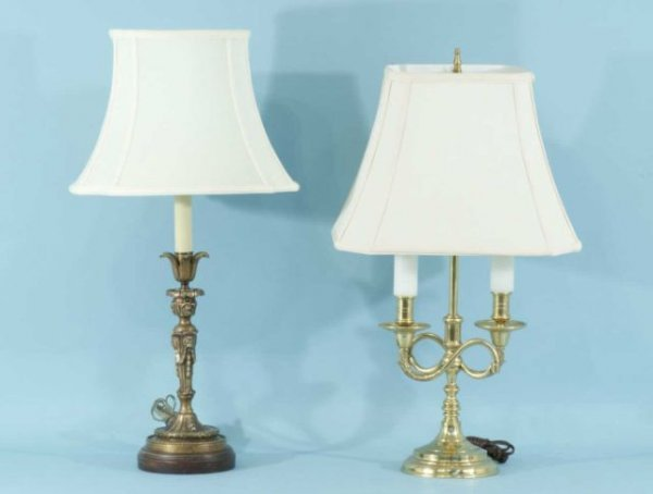 4: DOUBLE-LIGHT BRASS LAMP AND CANDLESTICK LAMP