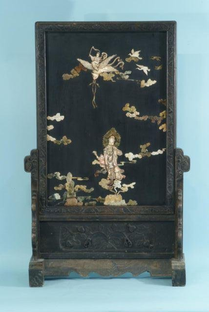 12: 19th CENTURY CHINESE TABLE SCREEN W/ JADE & IVORY