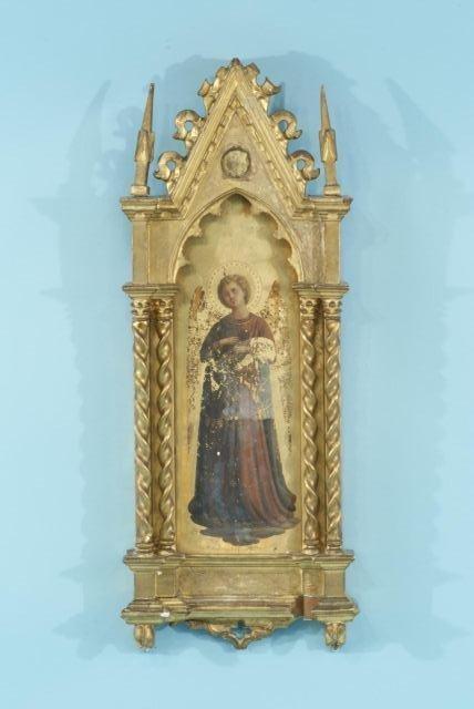 31: 17th CENTURY ARCH ANGEL ICON ON WOOD PANEL