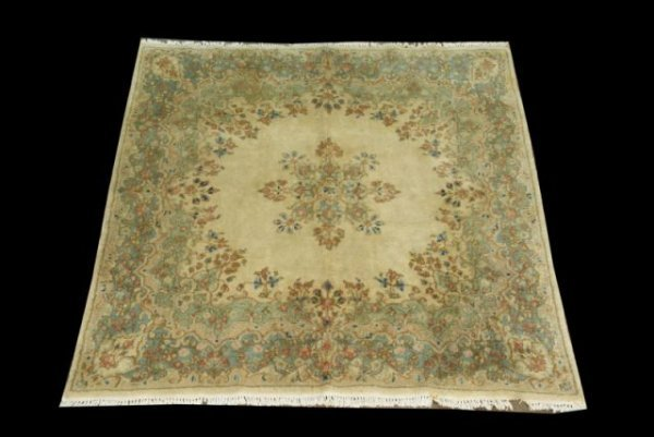 12: ANTIQUE KIRMAN PERSIAN RARE SQUARE RUG