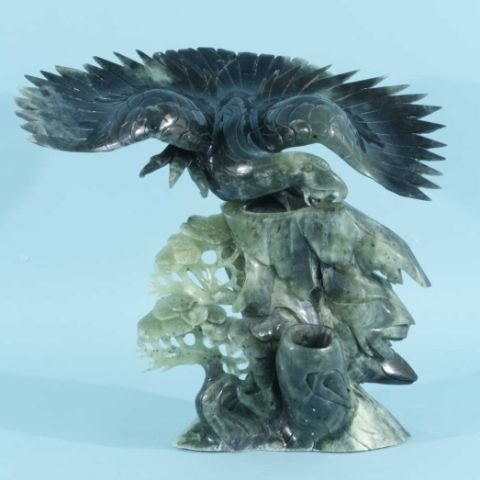 91: CARVED JADE EAGLE FIGURE WITH BASE