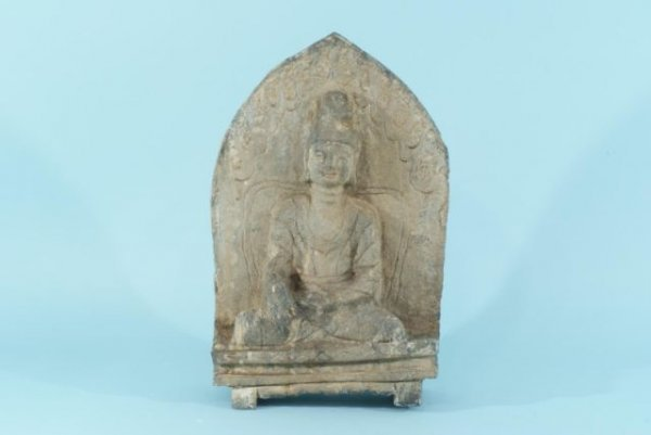 13C: ANTIQUE TIBETAN STONE CARVED SEATED BUDDHA