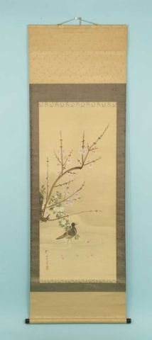 13D: HAND PAINTED SILK HANGING CHINESE SCROLL