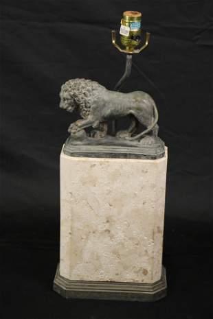 PATINAED BRONZE LION ON LIMESTONE BASE LAMP