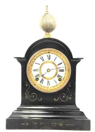 19th CENTURY EBONIZED METAL ANSONIA MANTEL CLOCK