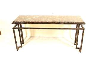 CONTEMPORARY PAINTED METAL BASE MARBLE TOP TABLE