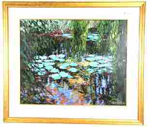 HEIDI COUTU LILY POND ACRYLIC ON PAPER PAINTING