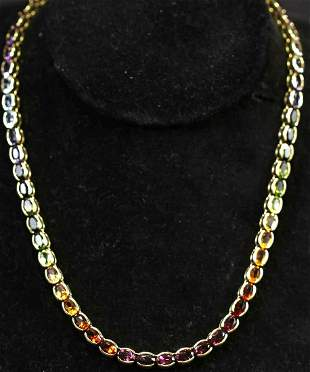14kt. YELLOW GOLD MULTI-GEMSTONE NECKLACE