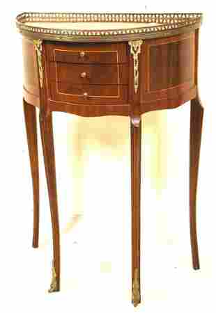 VINTAGE DEMILUNE TABLE WITH BRASS GALLERY