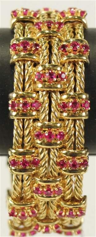 VINTAGE TIFFANY & CO 18kt GOLD RUBY BRACELET