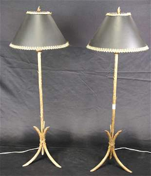 PAIR OF GILT METAL TWIG FORM BASE LAMPS
