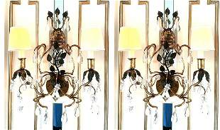 PAIR OF BAGUES STYLE TWO LIGHT SCONCES