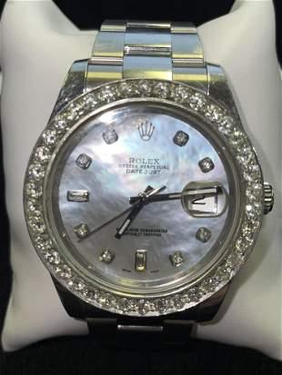 ROLEX DATEJUST 41 WHITE MOP DIAMOND DIAL & BEZEL