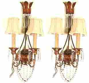 PAIR OF GILT METAL & CRYSTAL WALL SCONCES