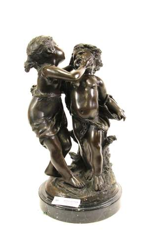 18th CENTURY STYLE YOUNG LOVERS BRONZE SCULPTURE