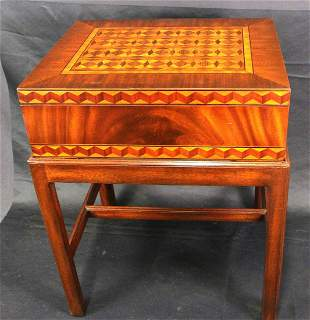 MAITLAND SMITH MARQUETRY INLAID CHEST ON STAND