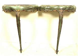 PAIR OF VINTAGE ITALIAN PAINTED CONSOLE TABLES