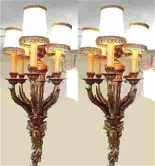 PAIR OF GILT BRONZE THREE LIGHT SCONCES