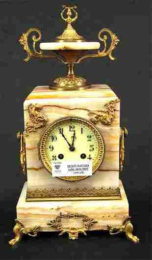 19th CENTURY FRENCH ONYX GILT BRONZE MANTEL CLOCK