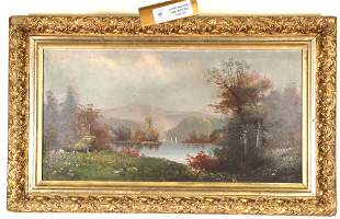 LANDSCAPE OIL ON CANVAS PAINTING IN GILDED FRAME
