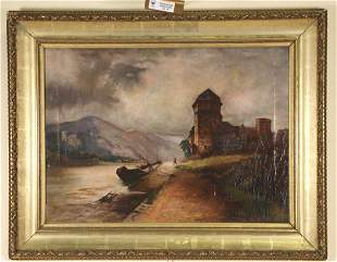 EDWARD H. THOMPSON ENGLISH COUNTRY OIL PAINTING