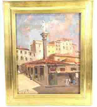 PIAZZA MARKET OIL ON CANVAS PAINTING