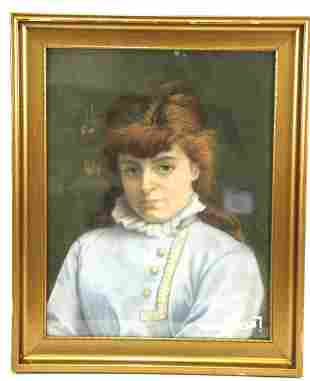 19th CENTURY DANISH PORTRAIT OF YOUNG LADY PASTEL
