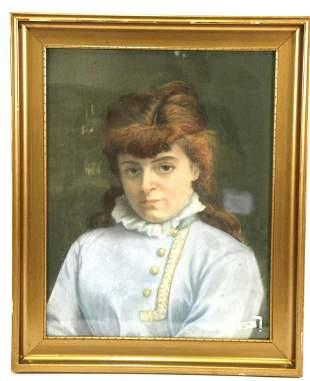19th CENTURY DANISH LADY OIL ON PANEL