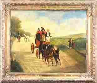 """T. WESTALL """"ON THE GREAT WEST ROAD"""" OIL ON CANVAS"""