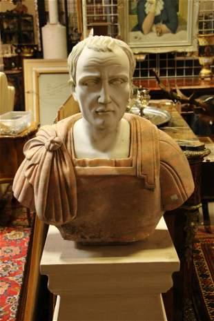 LIFESIZE CARVED MARBLE & GRANITE BUST OF JULIUS CAESAR