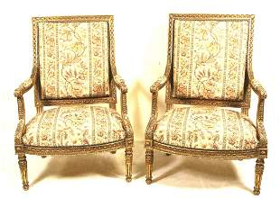 PAIR OF 19th C. FRENCH CARVED & GILDED ARMCHAIRS