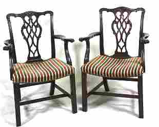 PAIR OF CHIPPENDALE MAHOGANY ARMCHAIRS